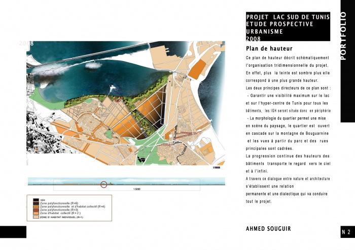 Projet urbain Lac sud de Tunis : plan des hauteurs
