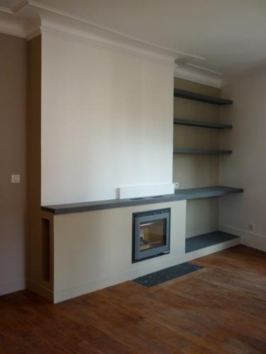 Rénovation et réorganisation d'un appartement classique : Living /photo de chantier: inser cheminée et bibliothèque