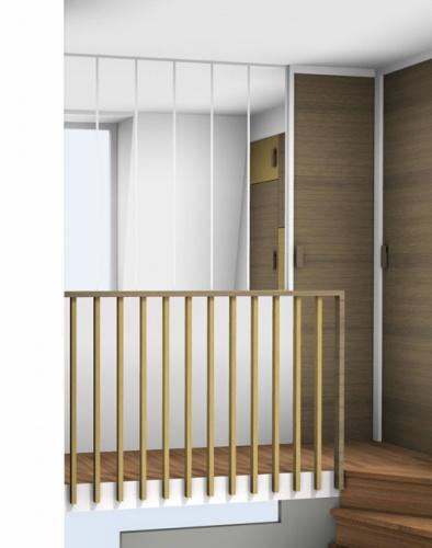 Aménagement des chambres à l'étage d'un duplex : rambarde