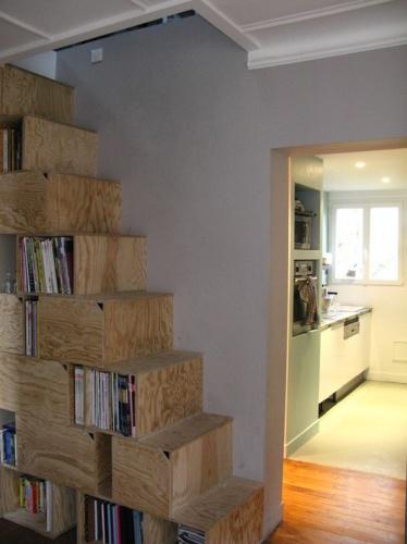 Rénovation et réorganisation d'un appartement classique : escalier-caissons