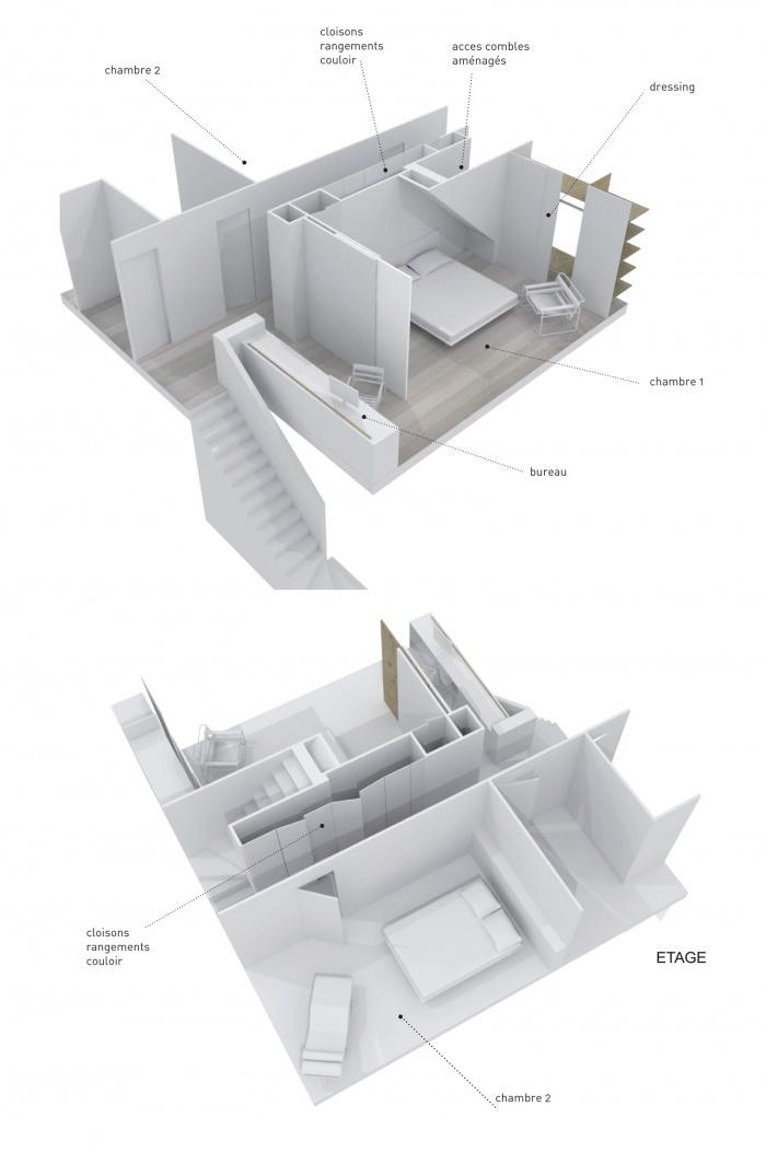 Décloisonner un pavillon 90s' : Volumétrie étage