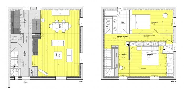 Décloisonner un pavillon 90s' : PLANS