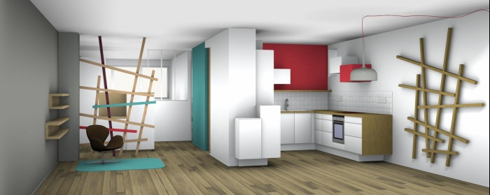 Rénovation complète et aménagement d'un appartement 70 : image 3D