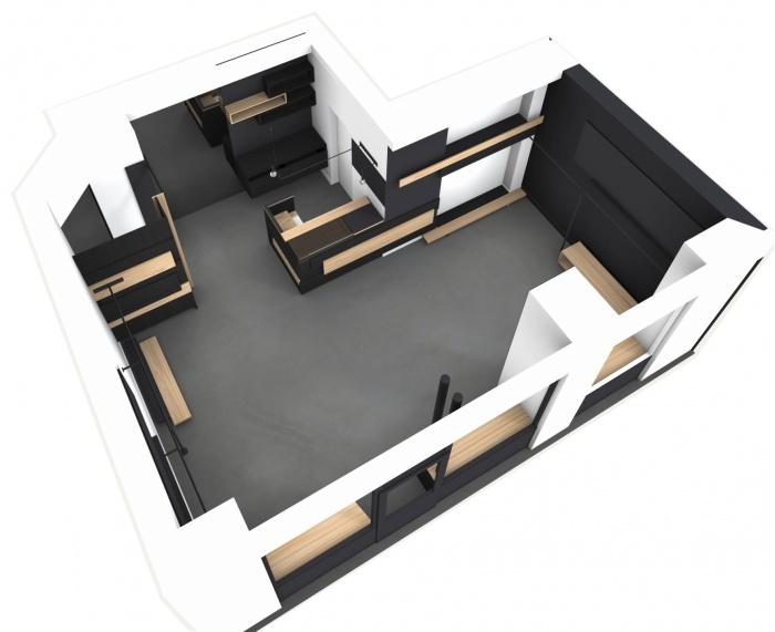Aménagement intérieur d'une boutique de mode : 3D vue d'ensemble