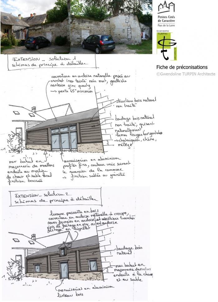 Extension en bois sur cour en secteur protégé