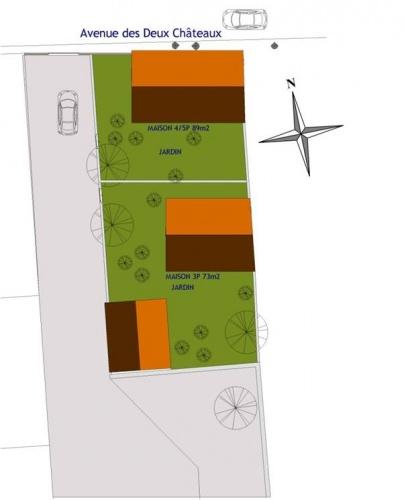 Projet de création de trois logements avec réhabilitation : Guermantes plan_masse