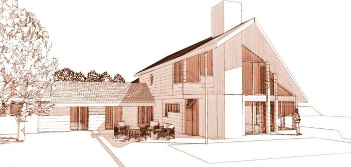 Maison ossature bois en Charente Maritime : maison contemporaine perspective ouest