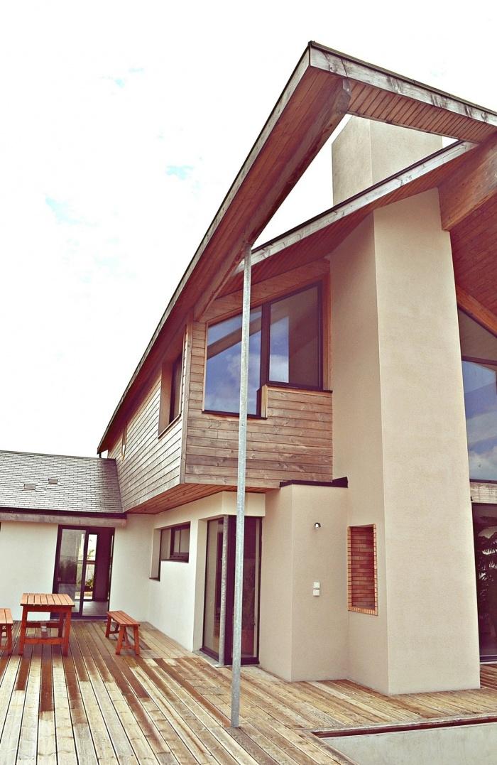 Maison ossature bois en Charente Maritime : maison contemporaine vue sud-est