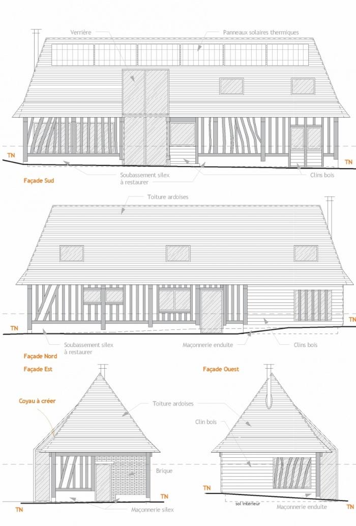 Transformation d'un batiment agricole en habitation : Façades (867x1280)